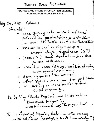 JFK Embalmer's Notes